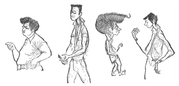 "Teenage Male Hairdos, drawings by Tom Wolfe. From left: The ducktail tease, The flat top, The basic ducktail, The ""Chicago Boxcar"